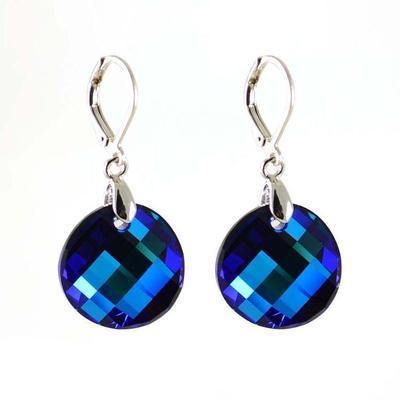 Náušnice Swarovski Elements Twist 713akt6621-18-30 - tmavo modré