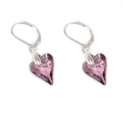 Náušnice Swarovski Elements Srdce Wild Heart 713akt6240-12-28 - ružové