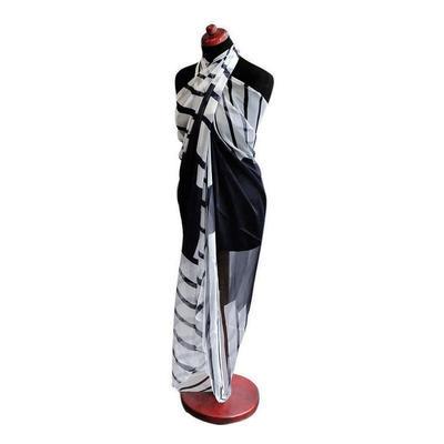 Pareo dámske Astarte par003-03 - čiernobiele s pruhmi