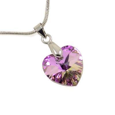Prívesok Swarovski Elements Srdce 339akt6228-14-35ab - fialový