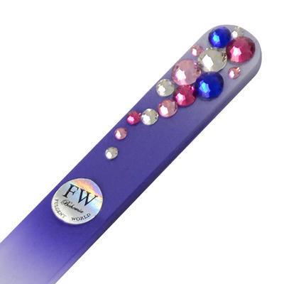 Sklenený pilník s kamienkami Swarovski - fialový - 1