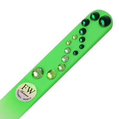 Sklenený pilník s kamienkami Swarovski - zelený - 1