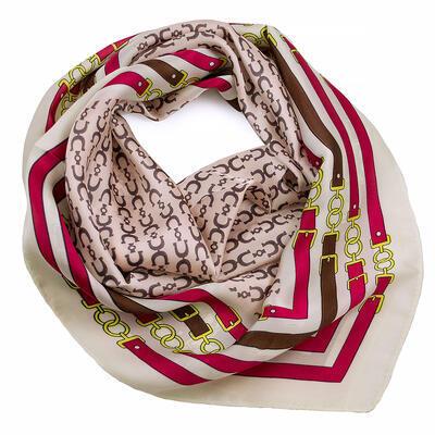 Šatka - ružovo-biela s potlačou - 1