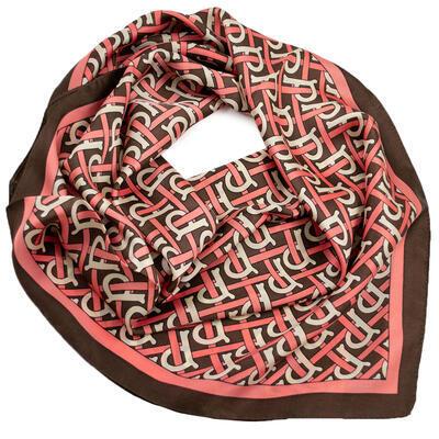 Šatka - hnedo-ružová s potlačou - 1