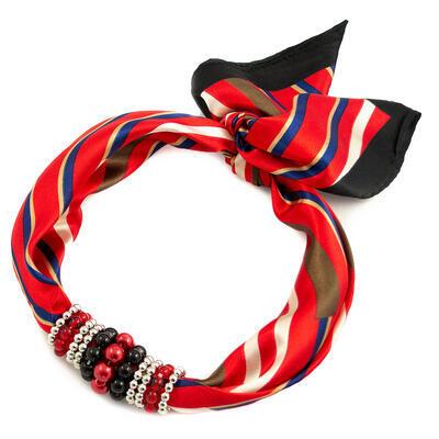 Šatka s bižutériou Letuška - červeno-čierna - 1