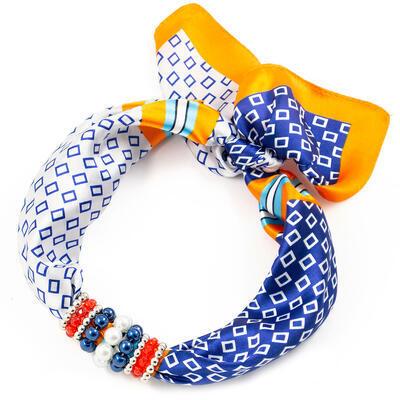 Šatka s bižutériou Letuška - modro-oranžová - 1