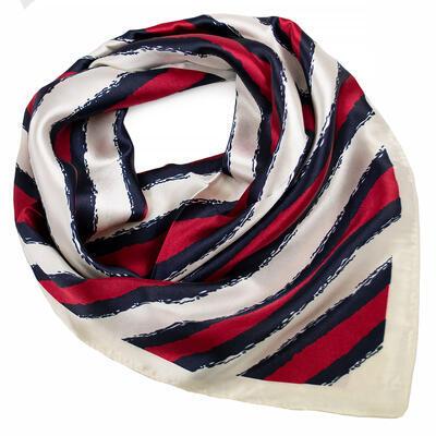 Šatka saténová malá - červeno-biela s potlačou - 1