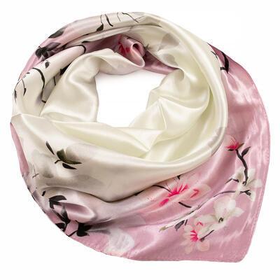 Šatka saténová malá - ružovo-béžová s potlačou - 1