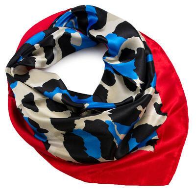 Šatka saténová malá - červeno-modrá - 1