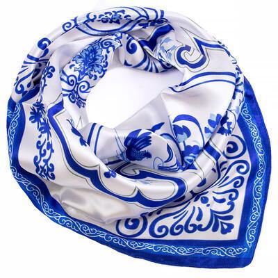 Šatka saténová malá - bielo-modrá - 1