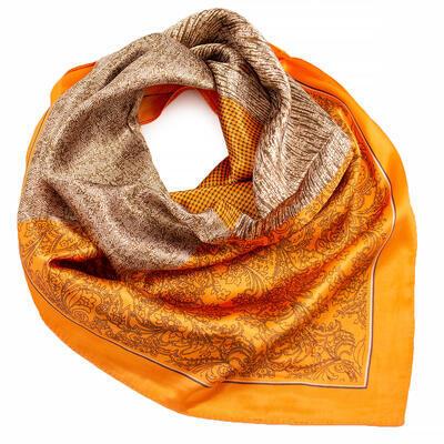 Šatka saténová malá - oranžovo-hnedá s potlačou - 1