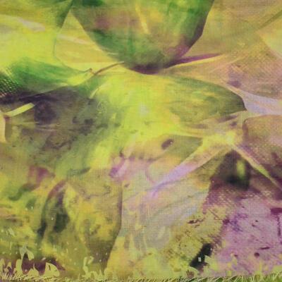Velká šatka - žlto-fialová s potlačou - 2
