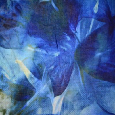 Veľká bavlněná šátka - modrá s potlačou - 2