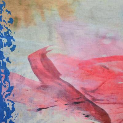 Veľká bavlněná šátka - modro-ružová s potlačou - 2