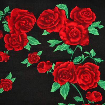 Veľká bavlněná šátka - čierno-červená s potlačou - 2