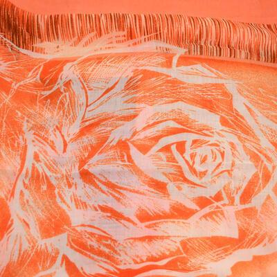 Šál klasický - oranžový s potlačou - 2