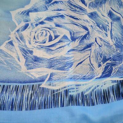 Šál klasický - modro-sivý s potlačou - 2