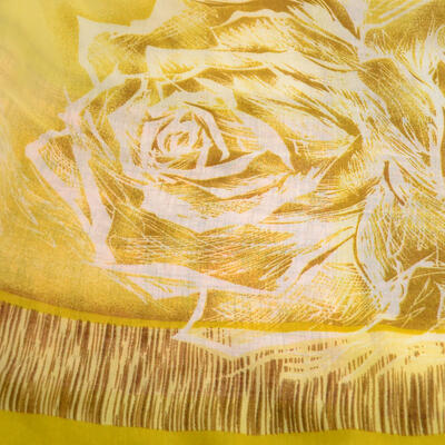 Šál klasický - zlato-hnedý s potlačou - 2