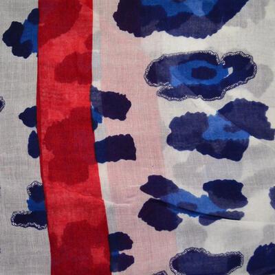 Šál klasický - červeno-modrý s potlačou - 2