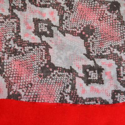 Šál klasický - sivo-červený - 2