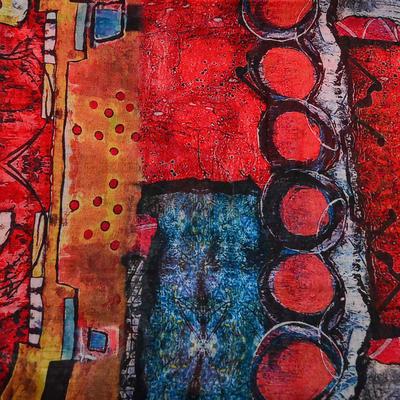 Šál klasický - červeno-modrý - 2