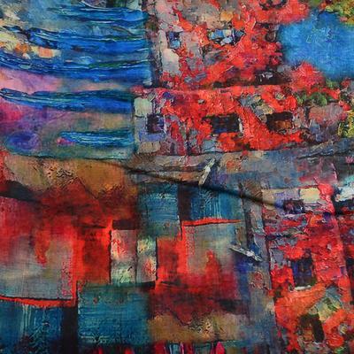 Šál klasický - modro-červený - 2