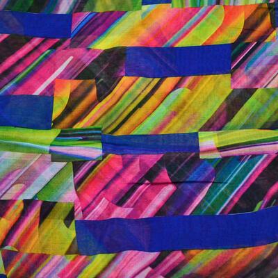 Šál klasický - modro-farebný s potlačou - 2