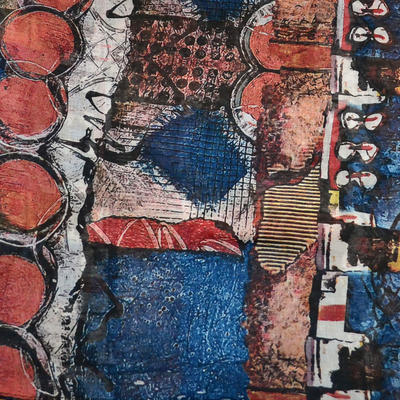 Šál klasický - modro-oranžový - 2