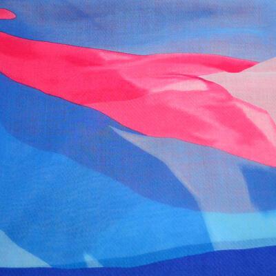 Šál klasický - modro-ružový - 2
