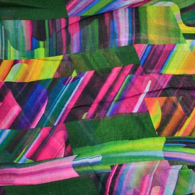 Šál klasický - zeleno-farebný s potlačou - 2
