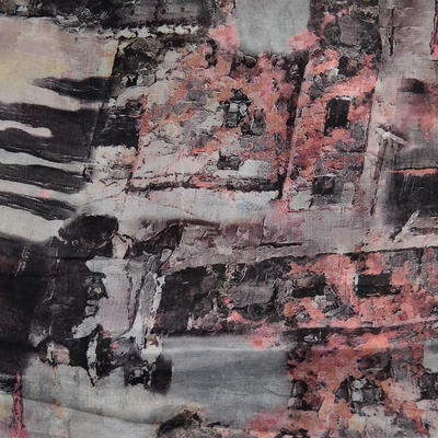 Šál klasický - sivo-ružový - 2