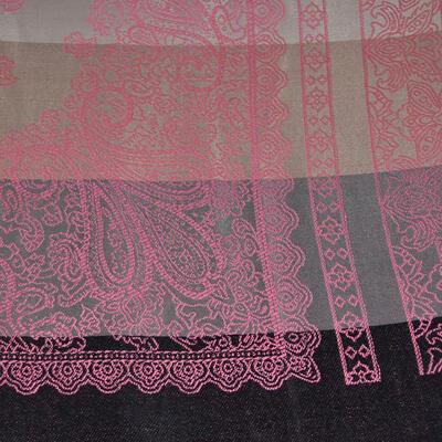 Šál teplý - sivo-ružový s potlačou - 2
