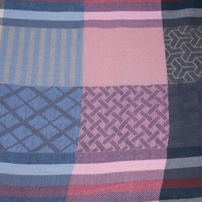 Šál teplý - modro-ružový s potlačou - 2