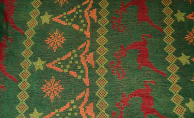 Šál teplý - zelenočervený - 2