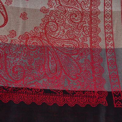 Šál teplý - sivo-červený s potlačou - 2