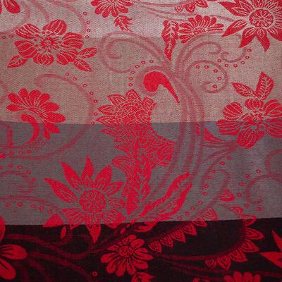 Šál teplý obojstranný - sivo-červený s potlačou - 2