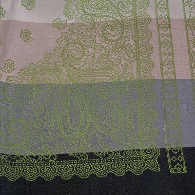 Šál teplý obojstranný - sivo-zelený s potlačou - 2