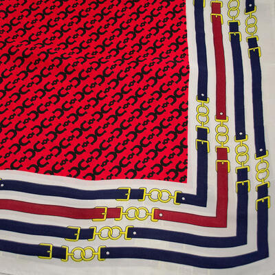 Šatka - červeno-biela s potlačou - 2