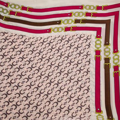 Šatka - ružovo-biela s potlačou - 2