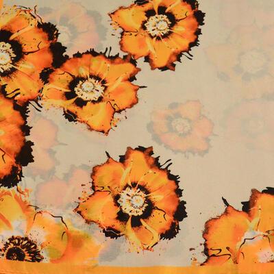 Šatka saténová malá - béžovo-oranžový - 2