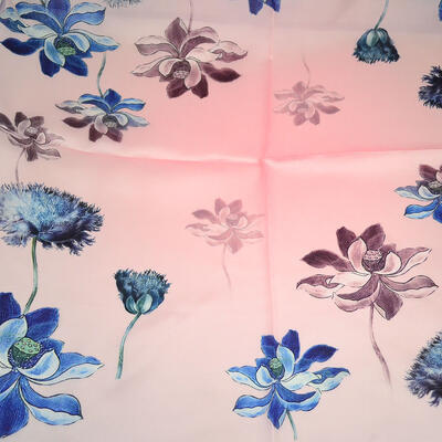 Šatka saténová malá - ružovo-modrá - 2