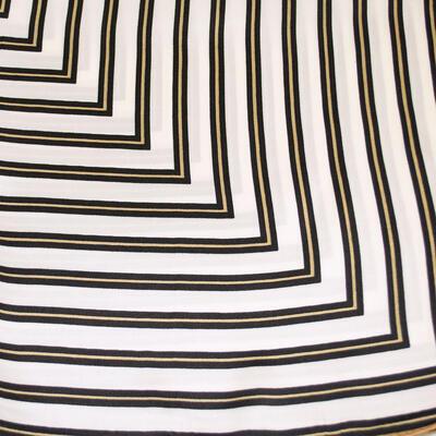 Šatka saténová malá - bielo-hnedá s potlačou - 2