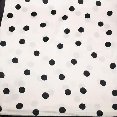 Šatka saténová malá - bielo-čierna s bodkami - 2