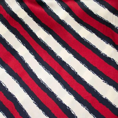 Šatka saténová malá - červeno-biela s potlačou - 2