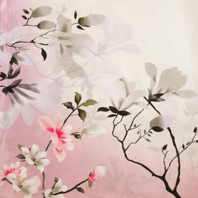 Šatka saténová malá - ružovo-béžová s potlačou - 2