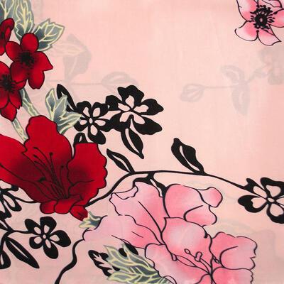 Šatka saténová malá - ružová s potlačou - 2