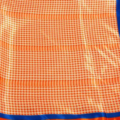 Šatka saténová malá - oranžová s potlačou - 2