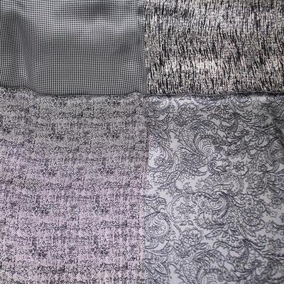 Šatka saténová malá - sivo-biela s potlačou - 2