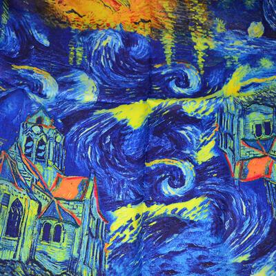 Šatka saténová malá - modrá - 2
