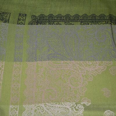 Šál teplý obojstranný - sivo-zelený s potlačou - 3